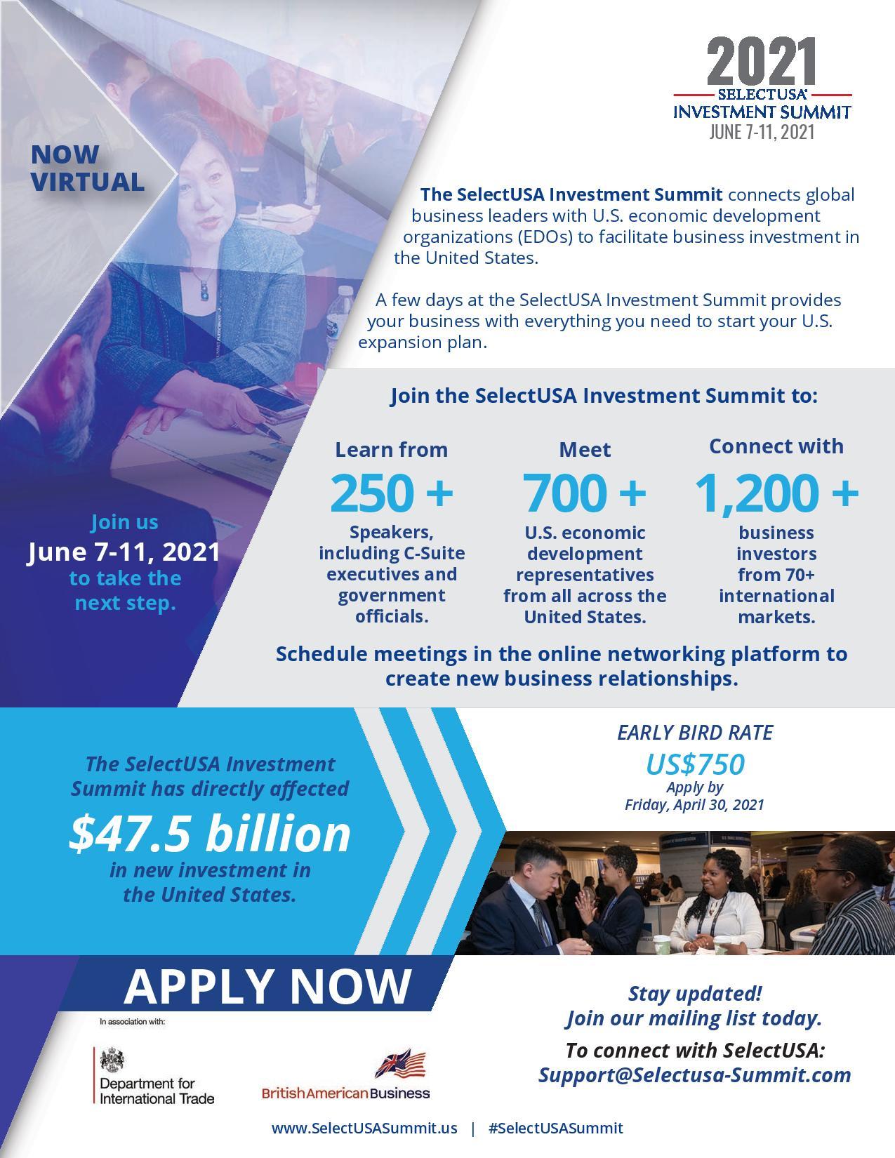 2021 SelectUSA Investment Summit Flyer